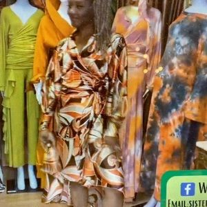 Printed Silk Satin Wrap Dress